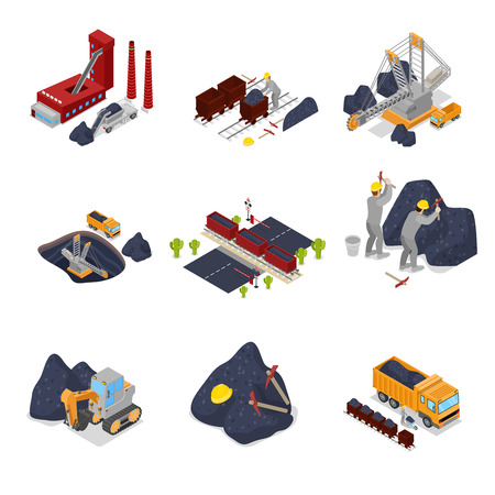 Isometric Coal Industry with Workers in Mine with Excavator, Miner and Equipment. Vector flat 3d illustration