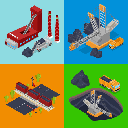 excavate: Isometric Coal Industry with Plant, Miner and Trucks. Vector flat 3d illustration