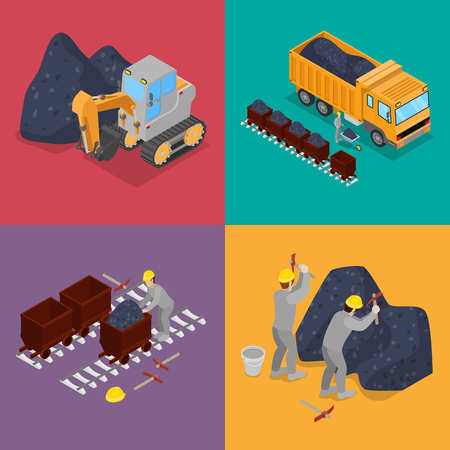Isometric Coal Industry with Workers in Mine, Excavator  and Equipment. Vector flat 3d illustration Illustration