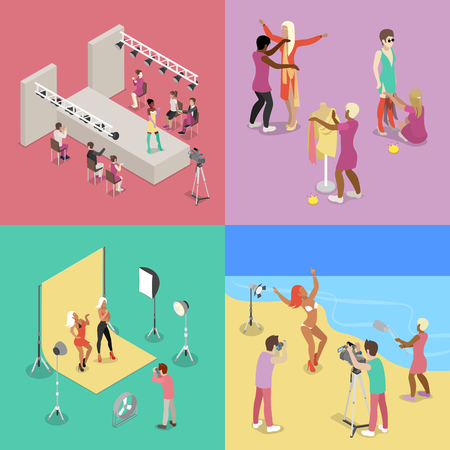 Isometric Fashion Show. Photographer Shooting Model in Studio. Beach Photo Session. Vector flat 3d illustration