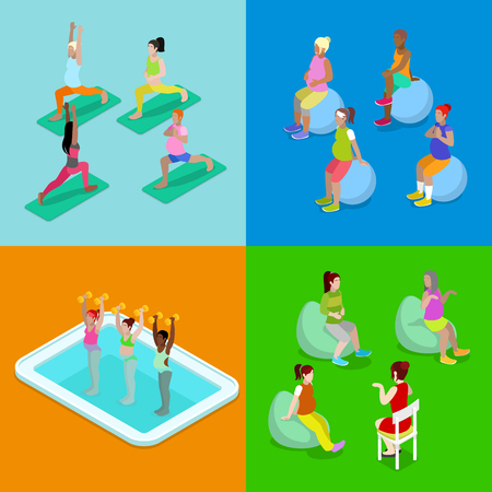 pregnancy exercise: Isometric Pregnant Woman Aqua Aerobics, Fitness and Yoga. Healthy Lifestyle. Vector flat 3d illustration