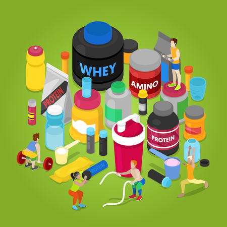 Isometric Sports Nutririon Elements with Supplements, Protein Bottle, Pills, Vitamins, Whey. People in Gym. Vector flat 3d illustration Illustration