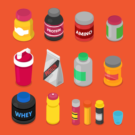 Isometric Sports Nutririon Elements with Supplements, Protein Bottle, Pills, Vitamins, Whey. Vector flat 3d illustration