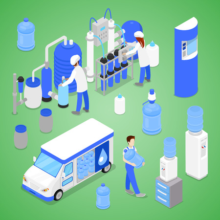 Isometric Water Purification Factory with Workers Inspecting the Quality Production. Vector flat 3d illustration