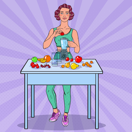 Pop Art Young Woman Making Smoothie with Fresh Fruits. Healthy Eating. Vector illustration Иллюстрация