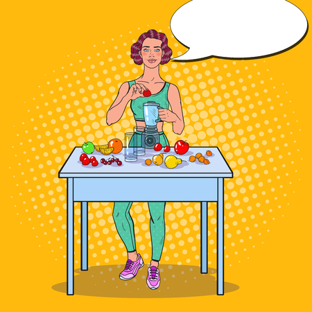 Pop Art Young Woman Making Smoothie in Blender with Fresh Fruits. Healthy Eating. Vector illustration