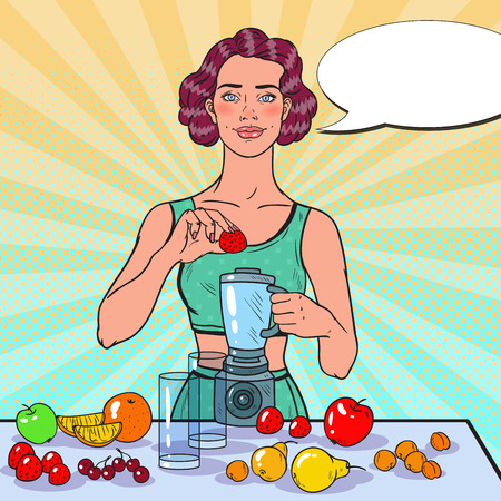 Pop Art Young Woman Making Smoothie with Fresh Fruits. Healthy Eating. Dieting Vegeterian Food Concept. Vector illustration 向量圖像