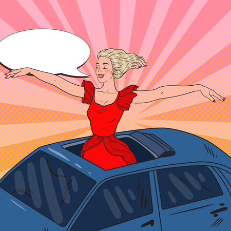 Pop Art Blonde Woman Standing in a Car Sunroof with Arms Wide Open. Vector illustration Illustration
