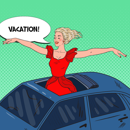 Pop Art Happy Blonde Woman Standing in a Car Sunroof with Arms Wide Open. Vector illustration Illustration