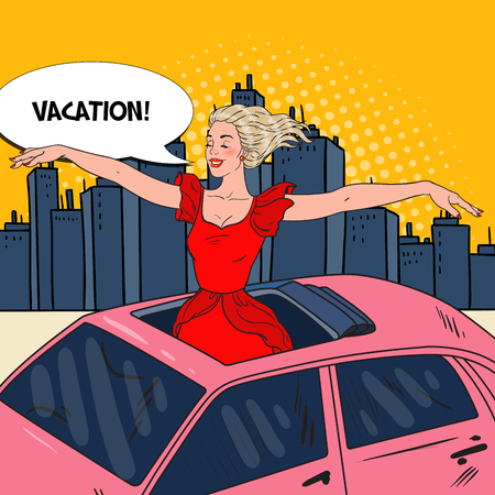 Pop Art Happy Woman Standing in a Car Sunroof with Arms Wide Open in the City. Vector illustration Illustration