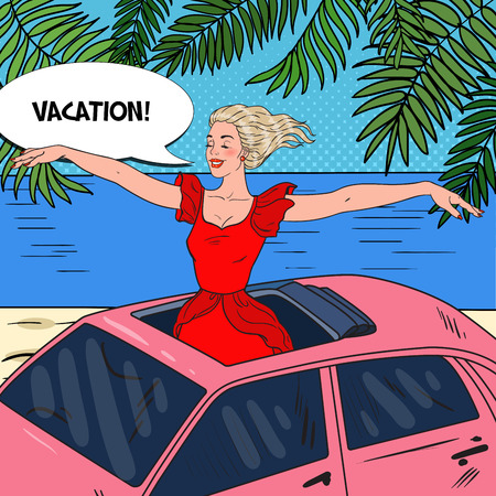 Pop Art Happy Woman Standing in a Pink Car Sunroof with Arms Wide Open. Beach Vacation. Vector illustration Illustration