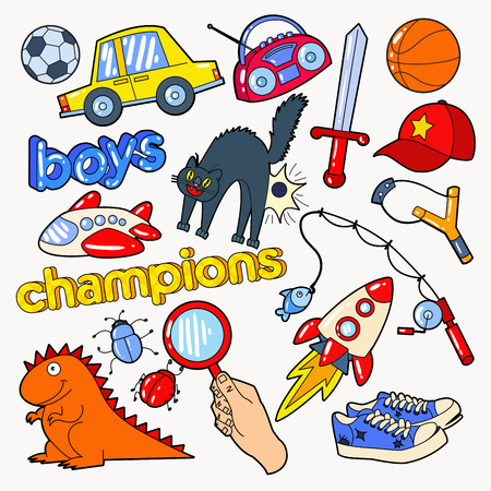 Boys Doodle with Toys and Funny Elements. Vector illustration