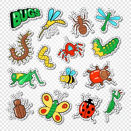 Etiquetas de insetos e insetos, crachás e remendos com abelha, joaninha e formiga. Ilustração do vetor Foto de archivo - 81670205