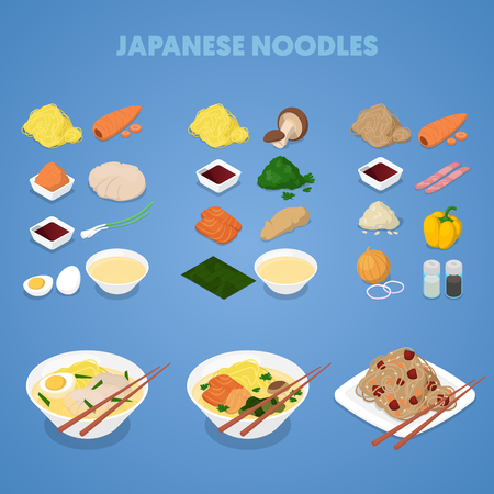 Japanese Noodles. Asian, Thai, Chinese Food. Vector illustration