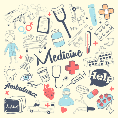 Freehand Health Care and Medicine Elements Set. Medical Hand Drawn Doodle. Vector illustration Vectores