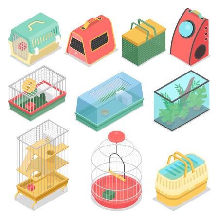 Portadores isométricos do animal de estimação com aquário e casa portátil para o gato, o hamster e o pássaro. Ilustração 3d plana de vetor