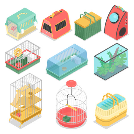 Isometric Pet Carriers with Aquarium and Portable House for Cat, Hamster and Bird. Vector flat 3d illustration Vectores