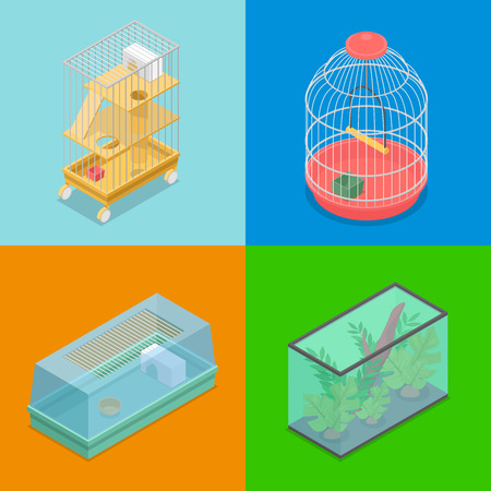 Isometric Pet Carriers with Aquarium and Portable House for Hamster and Bird. Vector flat 3d illustration