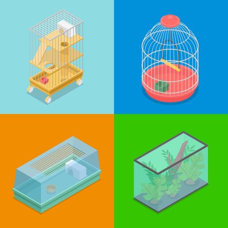 Transporteurs d'animaux isométriques avec aquarium et maison portative pour hamster et oiseau. Vector illustration 3d plate Banque d'images - 81670217