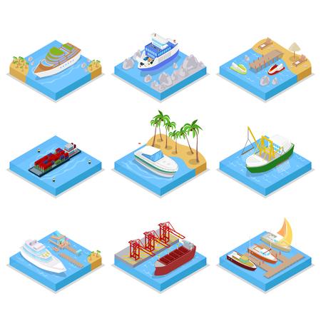 아이소 메트릭 선박 및 보트 크루즈와 산업 선박을 사용 하여 설정합니다. 항해 및 해운. 벡터 플랫 3D 그림 일러스트