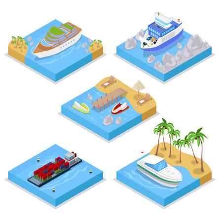 クルーズ産業の船と等尺性水輸送セット。セーリングと発送です。ベクトル平らな 3 d イラスト