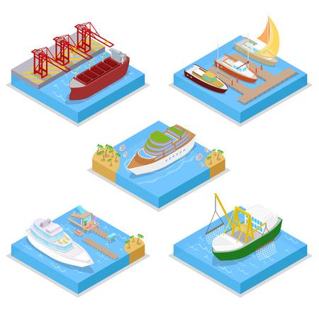 クルーズ産業の船と等尺性水トランスポート ・ セット。セーリングと発送です。ベクトル平らな 3 d イラスト