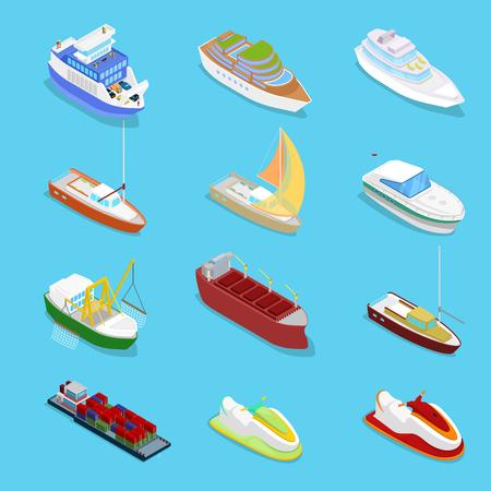 Isometrische watertransportset met cruise- en industrieel schip. Zeilen en verzenden. Vector platte 3d illustratie