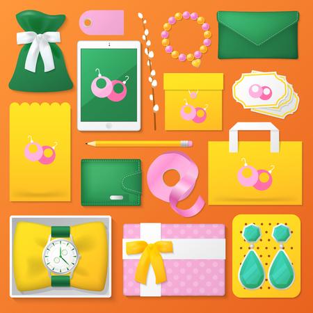 Mode-accessoires winkel huisstijl sjabloon Set. Vrouwelijke stationaire mockup. Persoonlijke branding. Vector illustratie