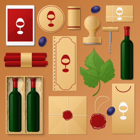 Wine Shop Corporate Identity Template Set. Winemaking Stationary Mockup. Personal Branding. Vector illustration