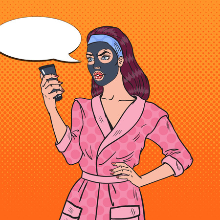 Pop Art Pretty Woman in Facial Cosmetic Black Mask. Skin Care and Beauty. Vector illustration