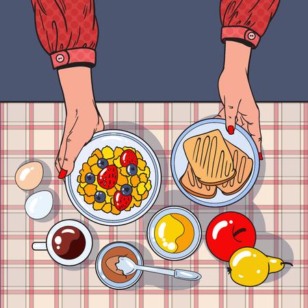 Opinião de tampo da mesa saudável do café da manhã com as mãos fêmeas que guardam a bacia, os frutos e os ovos. Conceito de dieta. Ilustração vetorial Foto de archivo - 81670573