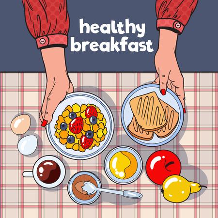 토스트, 그릇, 과일 및 계란 건강 한 아침 식사 테이블 상위 뷰. 다이어트 개념. 벡터 일러스트 레이 션