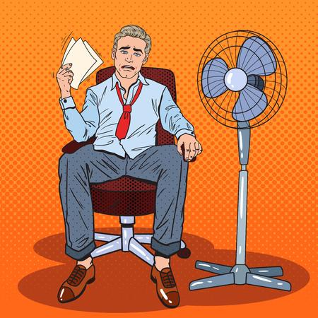 Pop-Art-Geschäftsmann, der im warmen Büro mit Fan schwitzt. Vektor-Illustration Vektorgrafik