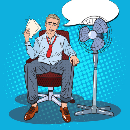 Pop Art Sweating Businessman Due to Hot Climate. Summer Heat. Vector illustration