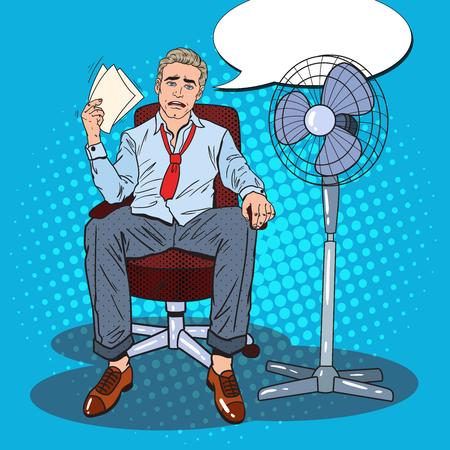 Pop Art zweet zakenman vanwege het hete klimaat. Zomer hitte. Vector illustratie Stock Illustratie