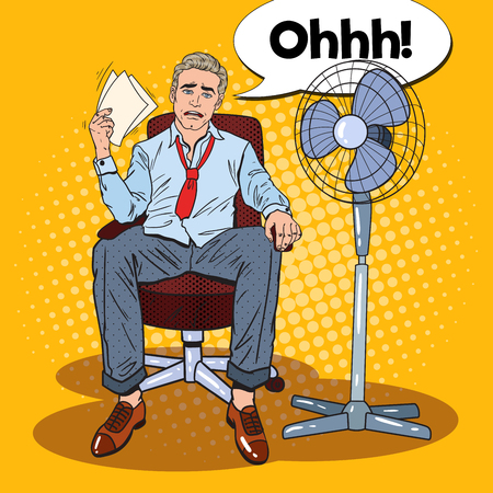 Pop Art Sweating Businessman in Front of Fan at Office Work. Summer Heat. Vector illustration