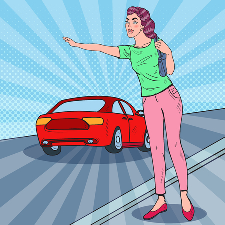 Pop Art Woman Catching a Car in the City Road. Vector illustration Stock Vector - 81670580