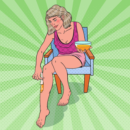 Pop Art Young Woman Waxing Her Leg. Skin Care and Beauty Concept. Vector illustration 向量圖像