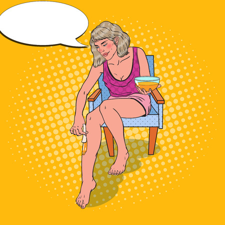 Pop Art Young Woman Making Legs Depilation. Skin Care and Beauty Concept. Vector illustration Иллюстрация