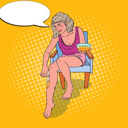 Popart jonge vrouw die benen ontharing. Huidverzorging en schoonheid Concept. Vector illustratie Stock Illustratie