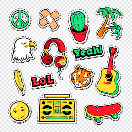 drawing pin: Teen Style Stickers, Badges and Patches for Fashion Prints. Vector illustration