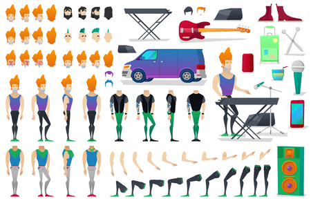 Musician Character Creation Constructor. Man in Different Poses. Male Person with Faces, Arms, Legs, Hairstyles. Vector illustration Ilustração