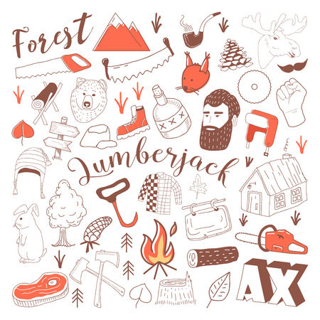 Hand Drawn Lumberjack Doodle. Freehand Woodworking Elements Set. Vector illustration
