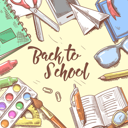 old telephone: Back to School Doodle. Educational Concept. Hand Drawn Background with Books, Notebook and Pen. Vector illustration