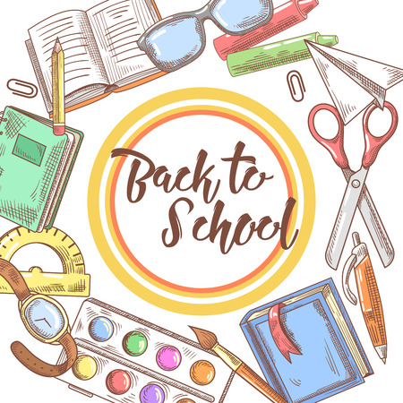 Back to School Hand Drawn Background. Educational Concept with Books, Notebook and Pen. Vector illustration Illustration