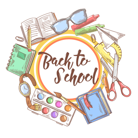 Back to School Hand Drawn Background. Educational Concept with Eyeglasses, Notebook and Paint. Vector illustration Illustration