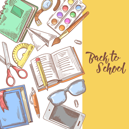 Back to School Hand Drawn Design. Educational Concept with Notebook, Paints and Book. Vector illustration Ilustração