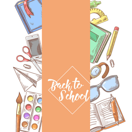 手描きデザインの学校に戻る。ノートブック、塗料、本教育のコンセプト。ベクトル図 写真素材 - 82121078