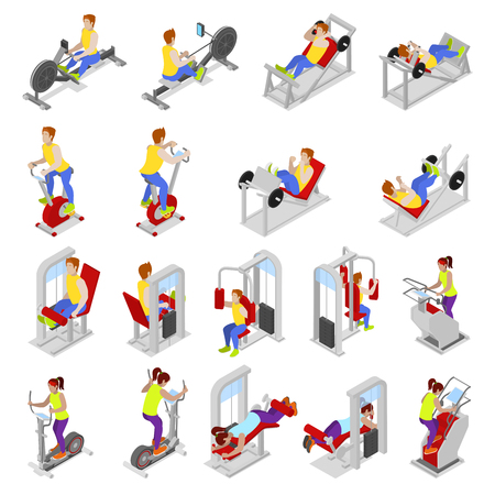 Isometric People at the Gym. Sportsmen Workout. Sports Equipment. Fitness Exercises. Vector flat 3d illustration