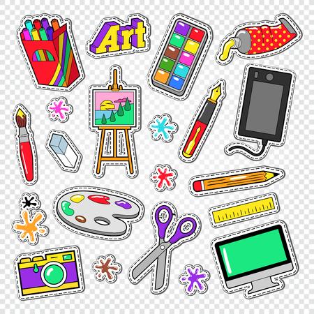 Art Outils Doodle. Autocollants de peinture avec des peintures, appareil graphique numérique et appareil photo. Illustration vectorielle